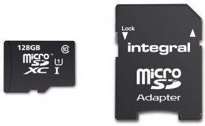 Carte microSDXC Integral Classe 10 (jusqu'à 80 Mo/s) - 128 Go avec adaptateur