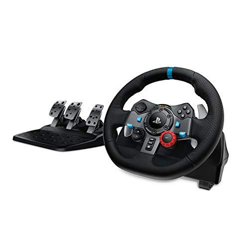 Volant de Course avec Pédale Logitech G29 Driving Force - Retour de Force Réaliste, Palettes Volant en Acier Inoxydable, Volant en Cuir