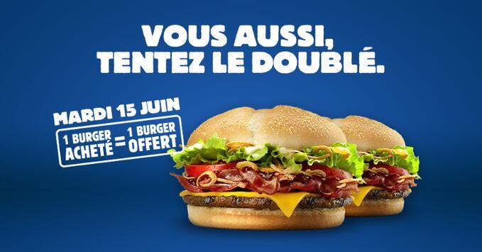 1 hamburger Burger King BBQ Cheese & Bacon, Big King XXL ou Steakhouse acheté = 1 hamburger offert
