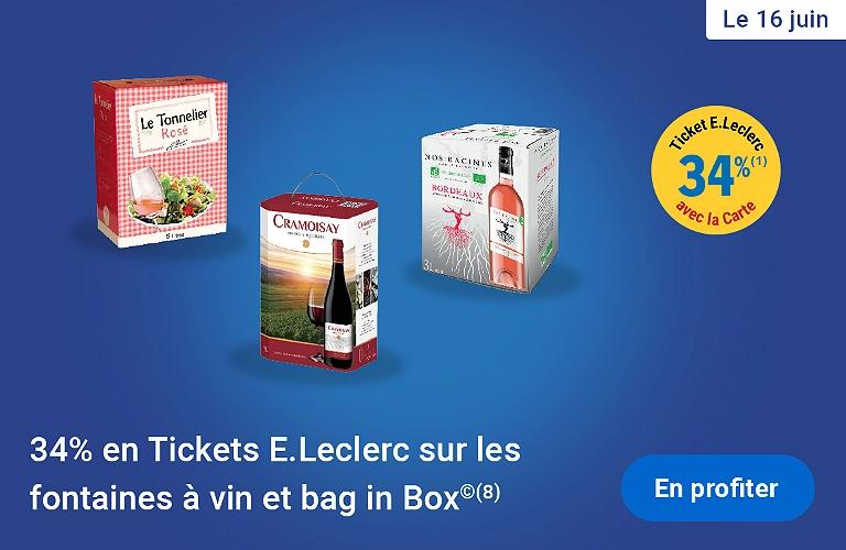 34% offerts en ticket Leclerc sur les Fontaines à vin et Bag in box
