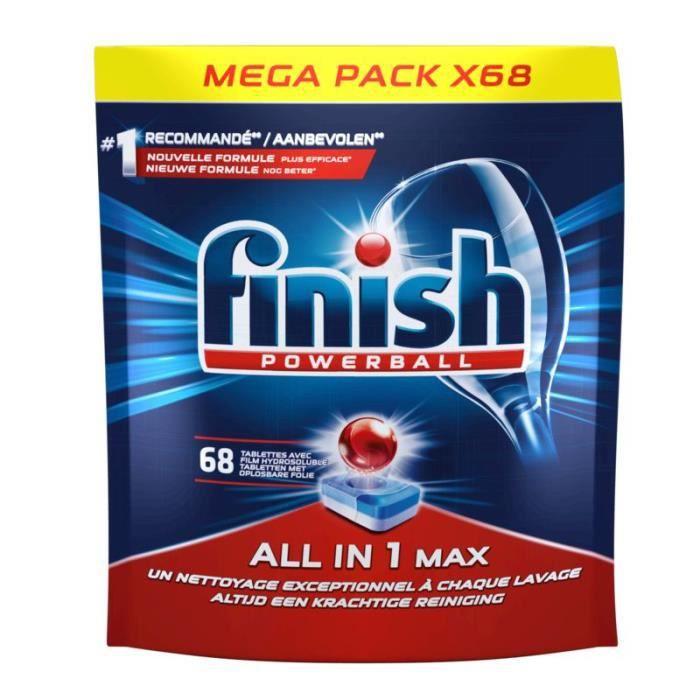 Lot de 2 paquets de 68 tablettes pour lave-vaisselle Finish Powerball Tout-en-un