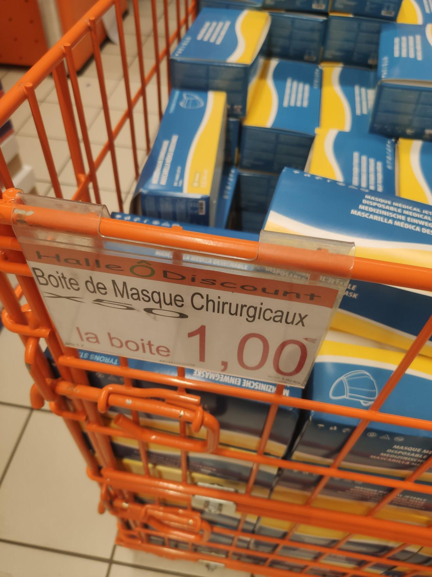 Boite de 50 masques chirurgicaux - Halle Ô Discount Lognes (77)