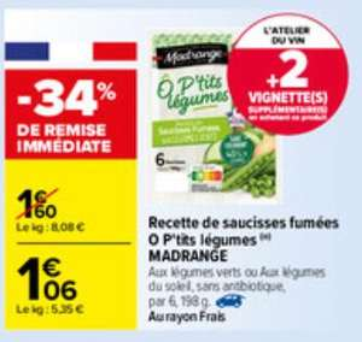 Pack de 6 saucisses fumées aux légumes verts O'Ptits légumes - 198g (via Shopmium + BDR)