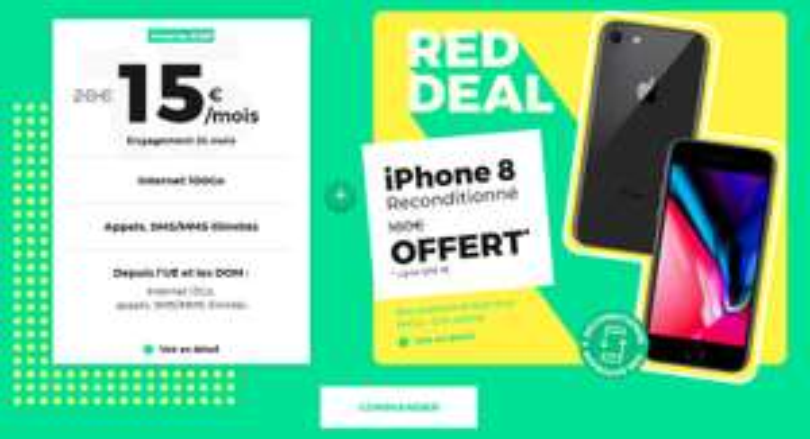 """Smartphone 4.7"""" Apple IPhone 8 - 64 Go, Reconditionné + Forfait Mobile Red avec appels/SMS/MMS Illimités + 100Go DATA (engagement 24 mois)"""