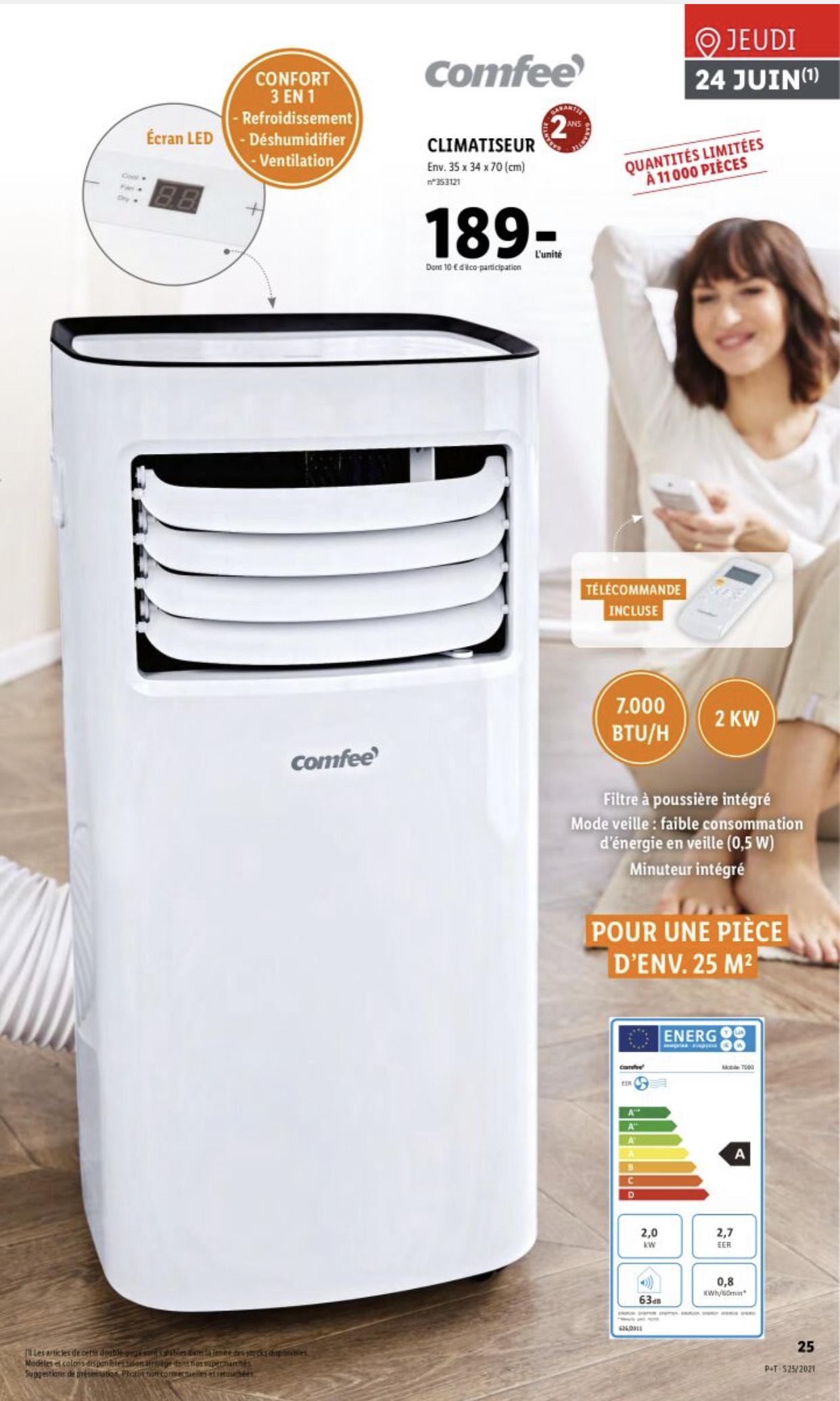 Climatiseur Mobile avec télécommande Comfee - 2000W