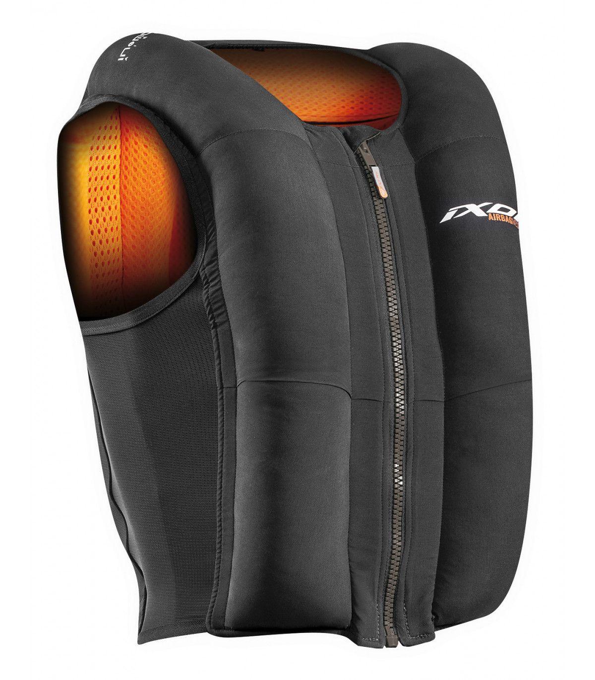 Gilet airbag pour motard Ixon IX-Airbag U03 - Noir/orange, Tailles XS à XL (motardpascher.com)