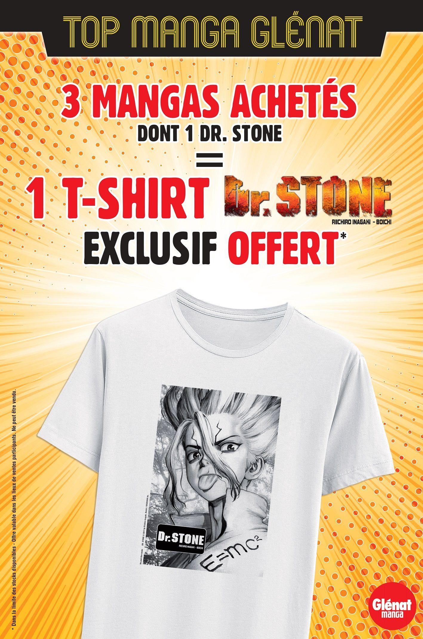 1 T-Shirt Dr Stone offert pour l'achat de 3 Tomes Glénat dont 1 tome de Dr Stone