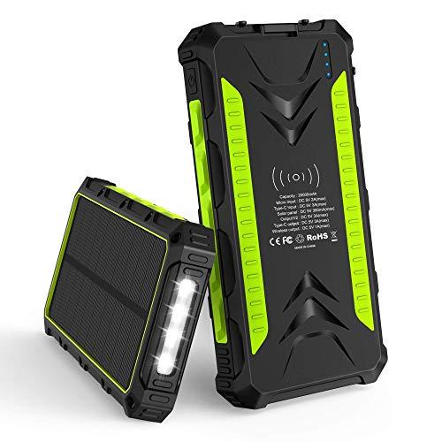 Batterie externe Slots - 20000mAh + Solaire, Induction - 2 ports USB, Type C (Vendeur tiers)