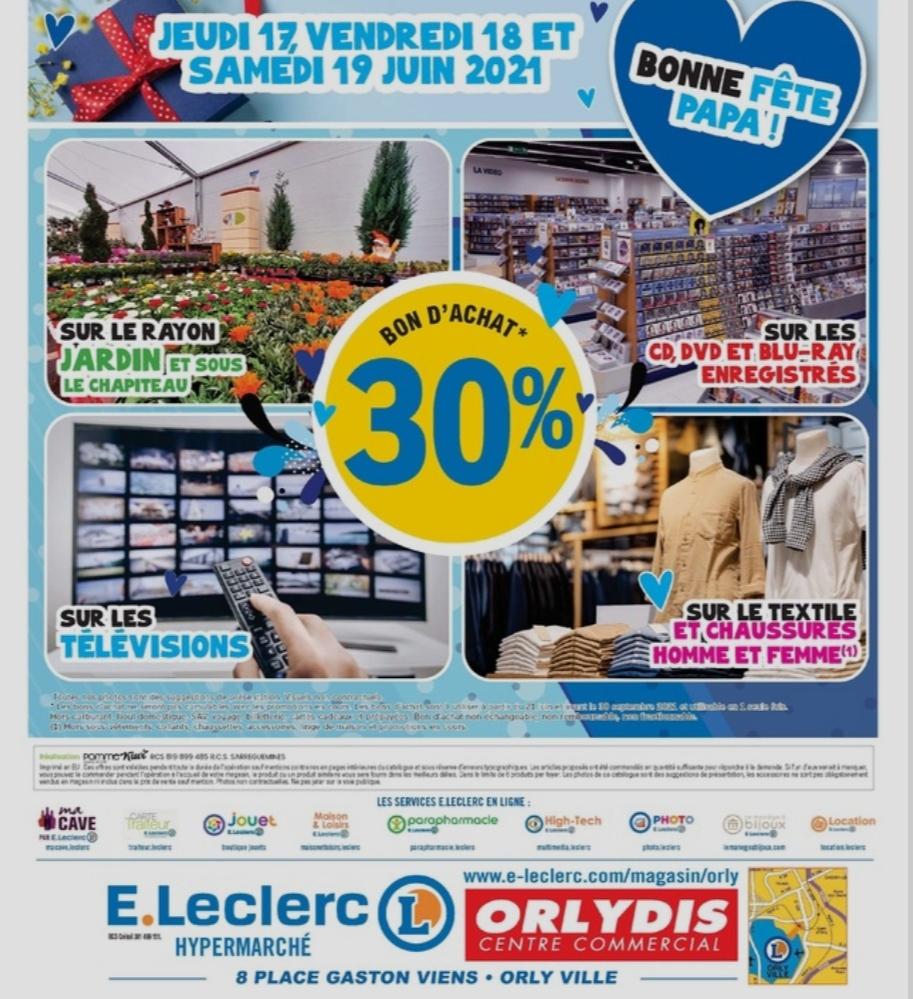[Carte Fidélité] 30% offerts en bon d'achat sûr les TV (Orlydis 94)