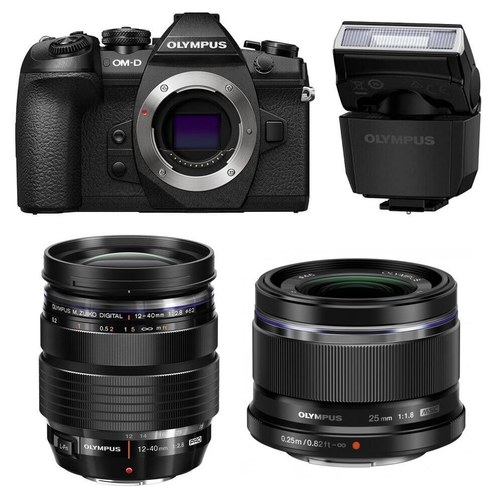 Appareil Photo Hybride Olympus OM-D E-M1 Mark II + 2 Objectifs M.Zuiko Digital (12-40mm f/2.8 Pro + 25mm f/1.8) + Flash FL-LM3 & Accessoires