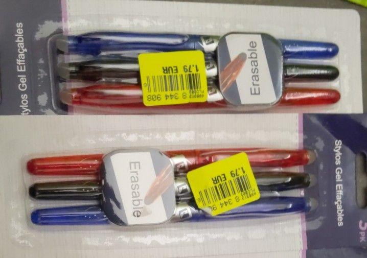 Lot de 3 stylos effaçables (bleu, noir & rouge) - Montataire (60)