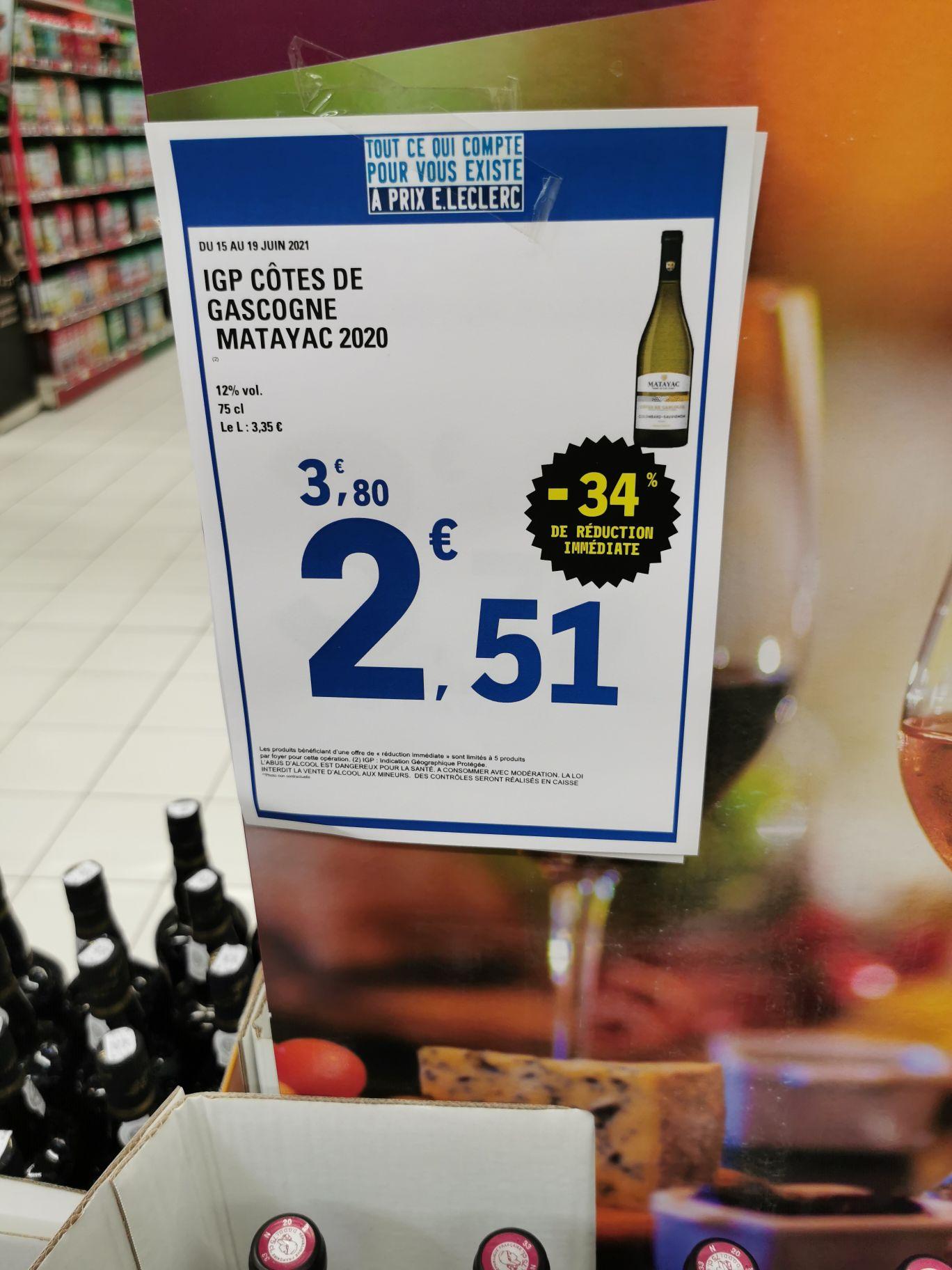 Bouteille de vin blanc IGP Côtes de Gascogne Matayac 2020 (75 cl) - Templeuve (59)