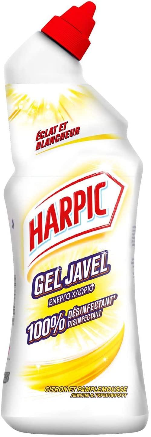 Lot de 4 flacons de gel javel Harpic 100% Désinfectant Citron & Pamplemousse - 4x75 cl