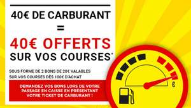 Carburant à prix coutant + 2 Bons d'achats de 20€ (utilisables dès 100€ d'achat) offerts dès 40€ de carburant acheté