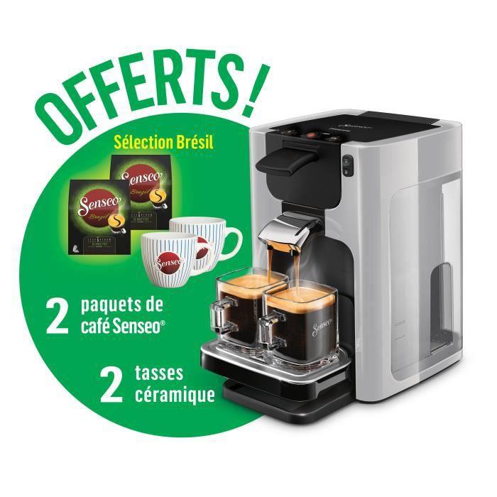 Machine café à dosette Philips Senseo Quadrante HD7866/61 + 2 paquets de café et 2 tasses offerts