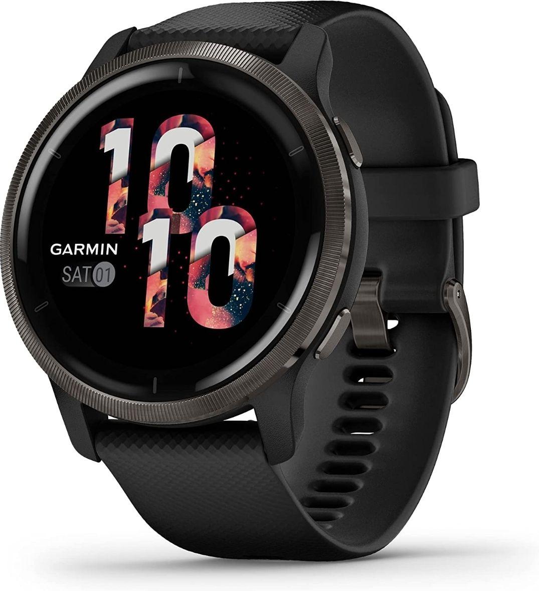 Montre connectée Garmin Venu 2 - 45 mm, bracelet en silicone, noir