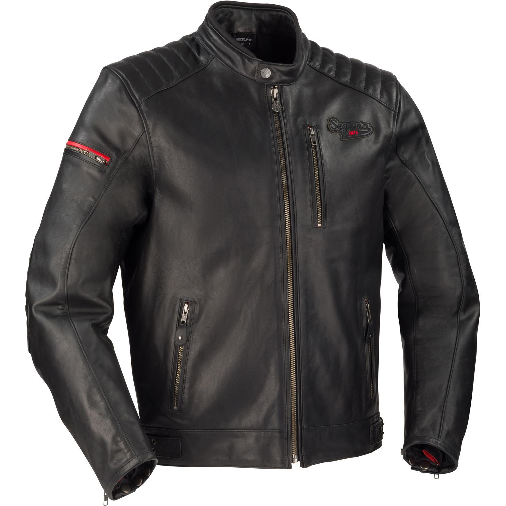 Blouson moto en cuir Segura Perkins - Doublure thermique amovible, Protections d'épaules / coudes (taille au choix)