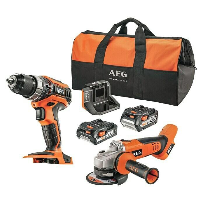 Pack perceuse-visseuse sans fil AEG 18V + meuleuse 125 mm avec 2 batterie (4.0Ah & 2.0Ah) + Sac à outils - Bauhaus (Frontaliers Allemagne)