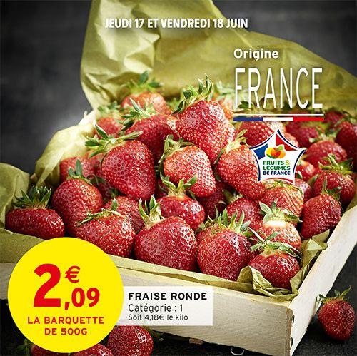 Barquettede fraises rondes (Catégorie 1 Origine France) - 500g
