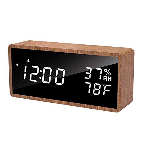 Réveil numérique en bois Meross - Affichage LED désactivable, Fonction température et humidité (Vendeur Tiers)