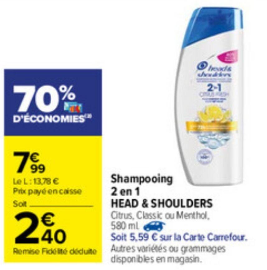 Shampoing 2 en 1 Head and Shoulders 580 ml - Citrus, Classic ou Menthol (via 5,59€ sur la carte fidélité + BDR 2€)