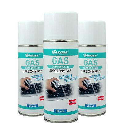 Lot de 10 sprays d'air comprimé Vakoss pour nettoyage PC - 10 x 400 ml
