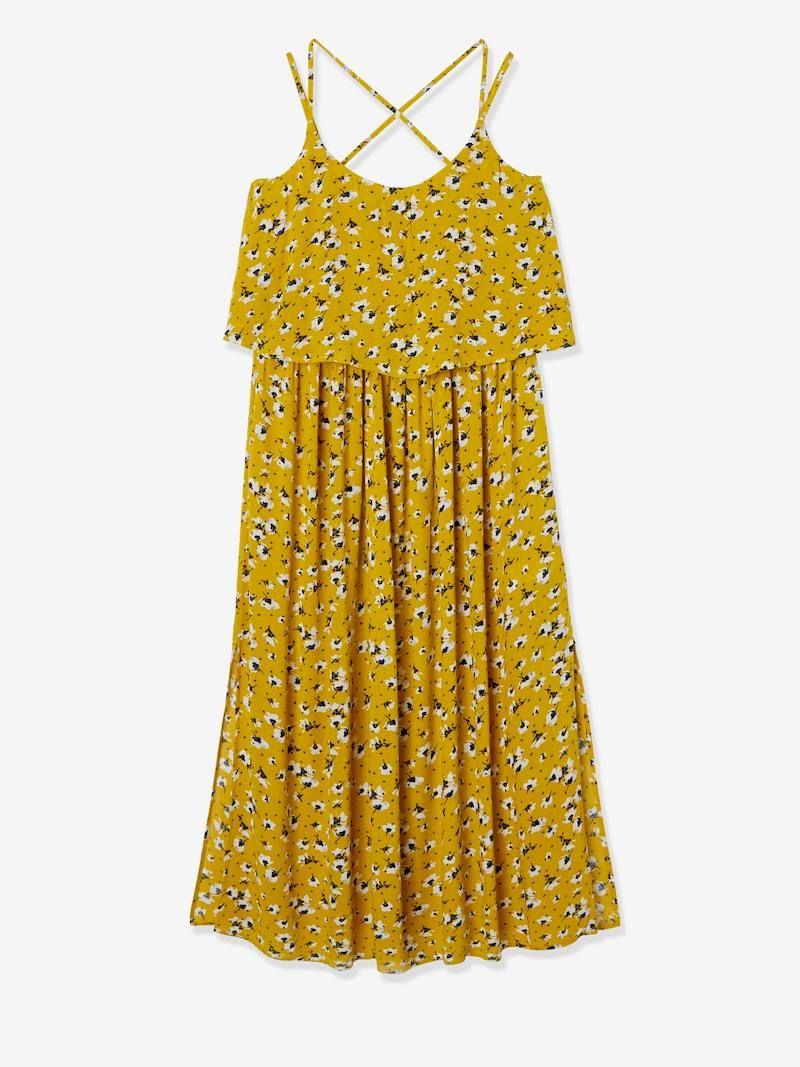 Robe Longue de grossesse avec pans fantaisies - Jaune imprimé fleuri - Tailles Du 34 au 46