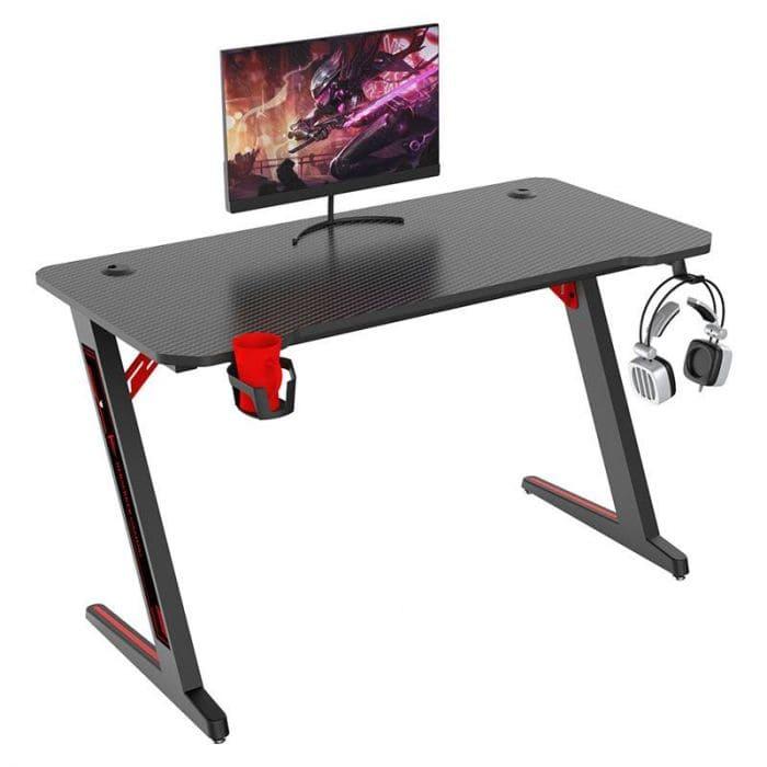 Bureau gaming Berserker B120 avec Support casque & gobelet, Range câbles, Noir/Rouge, 113 x 60 x 75 cm (+ 25€ à cagnotter pour les CDAV)