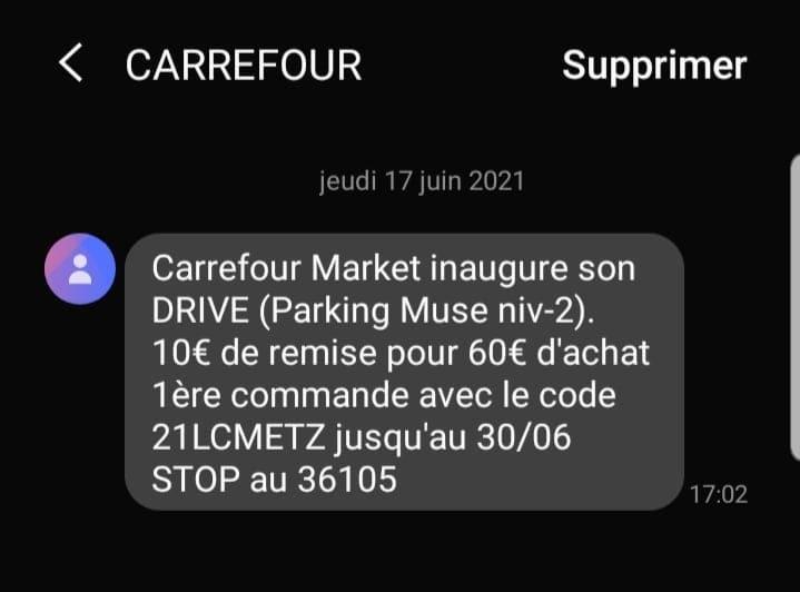 10€ de réduction dès 60€ d'achat - Carrefour Market Drive Metz Muse (57)