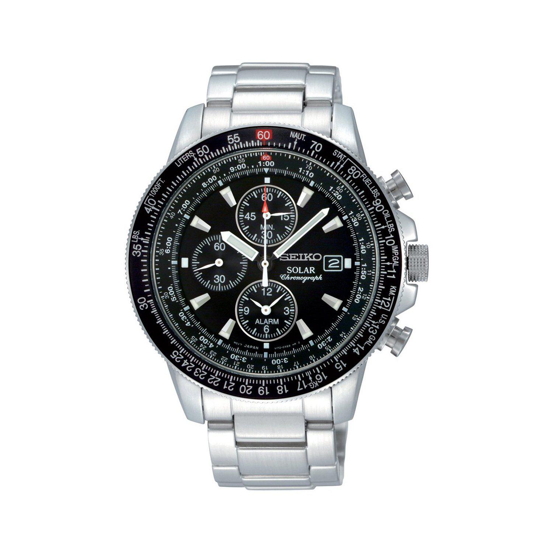 Montre Homme Chronographe Seiko SSC009P1 - Alarme / Chronomètre / Solaire - Bracelet Acier