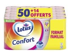 Paquet de 64 rouleaux de papier toilette Lotus Confort Aquatube Rose