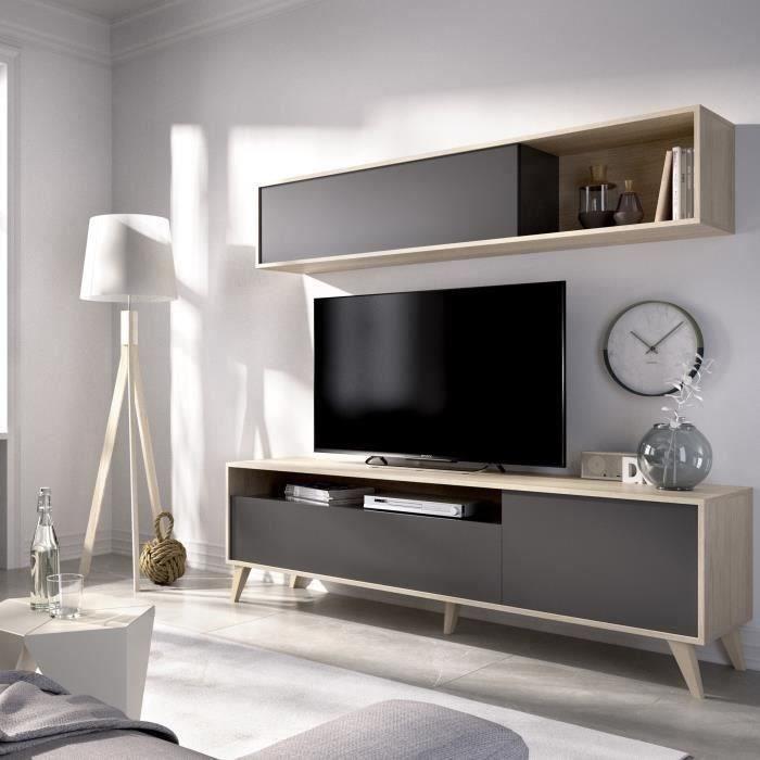 [CDAV] 20% de réduction sur une sélection de meubles et linges de maison - Ex : Meuble TV avec étagère murale Bonn - L 180 x P 41 x H 180 cm