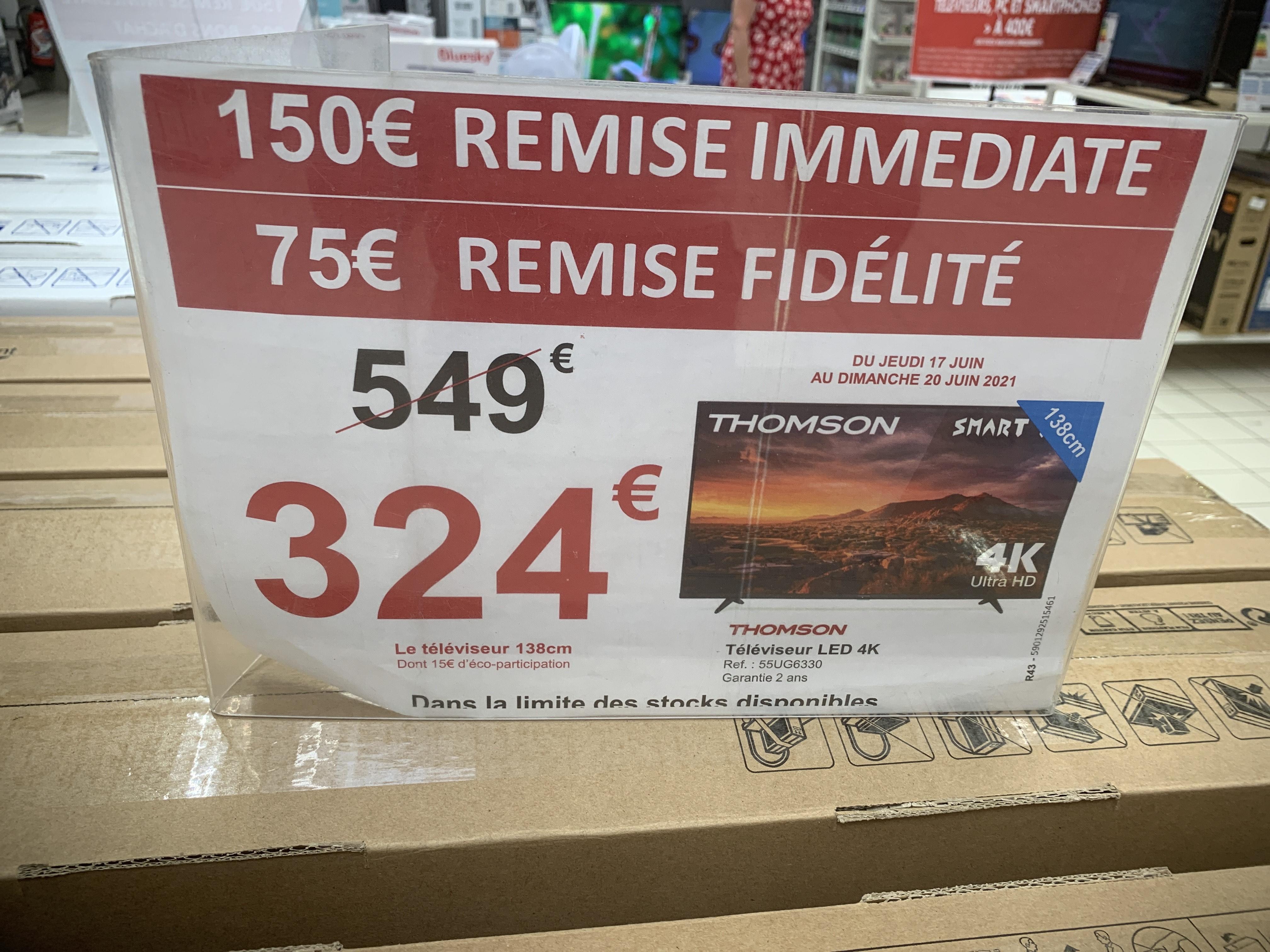 """Tv 55"""" Thomson 55UG6330 - LED 4K (Via 75€ sur carte de fidélité) - Montigny-lès-Cormeilles (95)"""