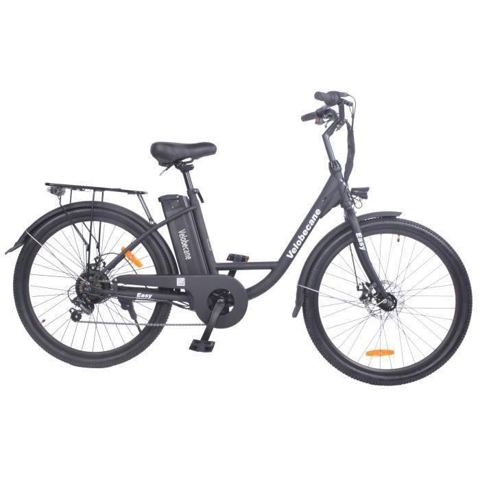 """Vélo électrique 26"""" Velobecane - 7 vitesses, Freins à disque, autonomie 40km, Noir"""