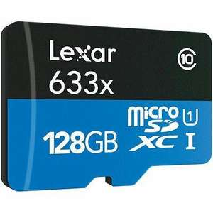 Carte microSDXC Lexar High Performance 633x UHS-I - 128 Go (taxes et port inclus)