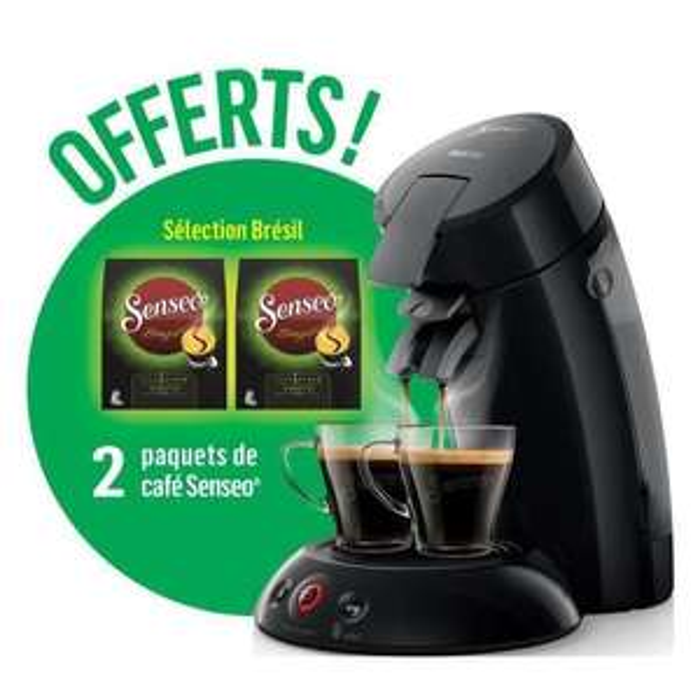 Machine à café Senseo Original HD6554/61 - Gris Clair + 2 paquets de café Senseo Sélection Brésil offerts