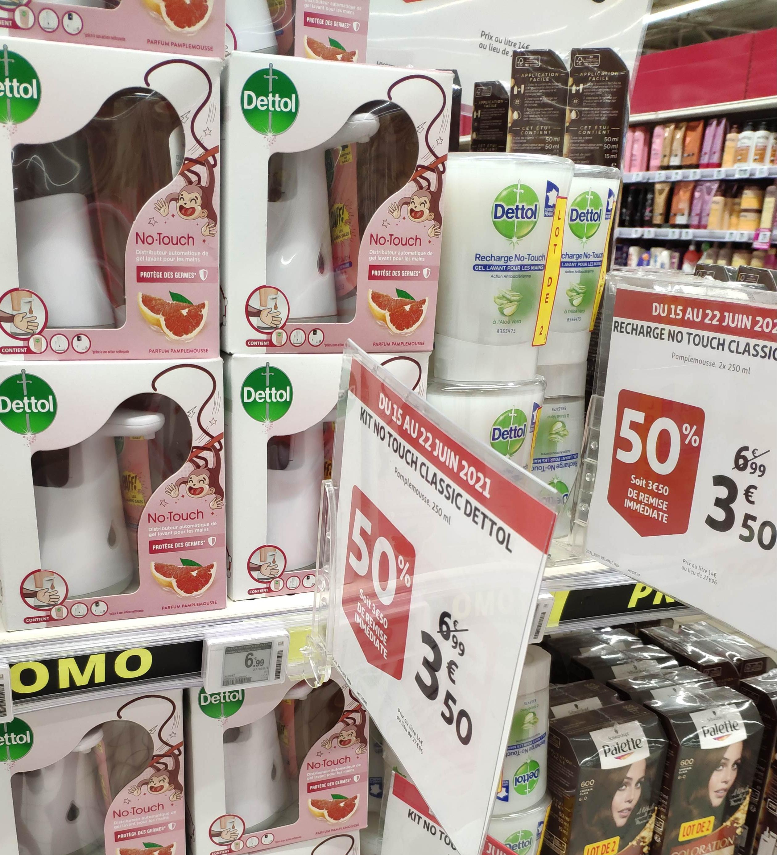 Distributeur de savon automatique Dettol NoTouch + recharge 250 ml