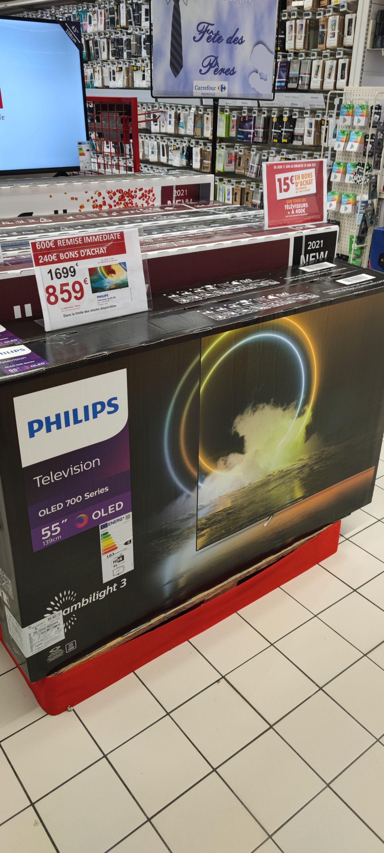 "TV OLED 55"" Philips 55OLED705 - 4K UHD, Smart TV, Ambilight 3 côtés (Via 240€ en bons d'achats) - Thionville (57)"
