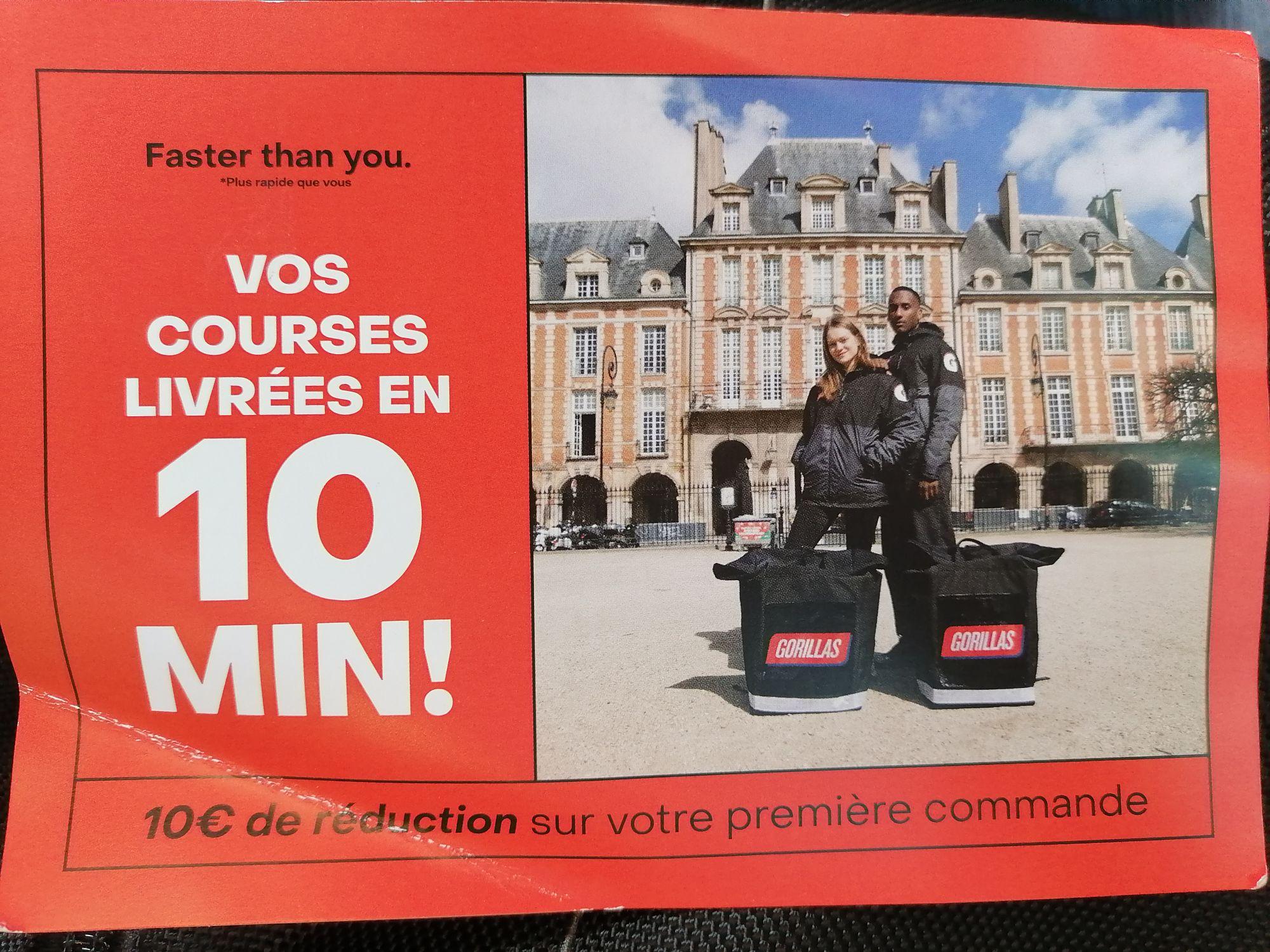[Nouveaux clients] 10€ de réduction sur 1ère commande (Application Gorillas.io) - Paris (75)