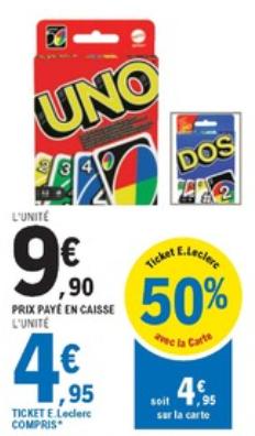 Jeu de cartes Uno ou Dos (Via 4.95€ sur la carte fidélité)