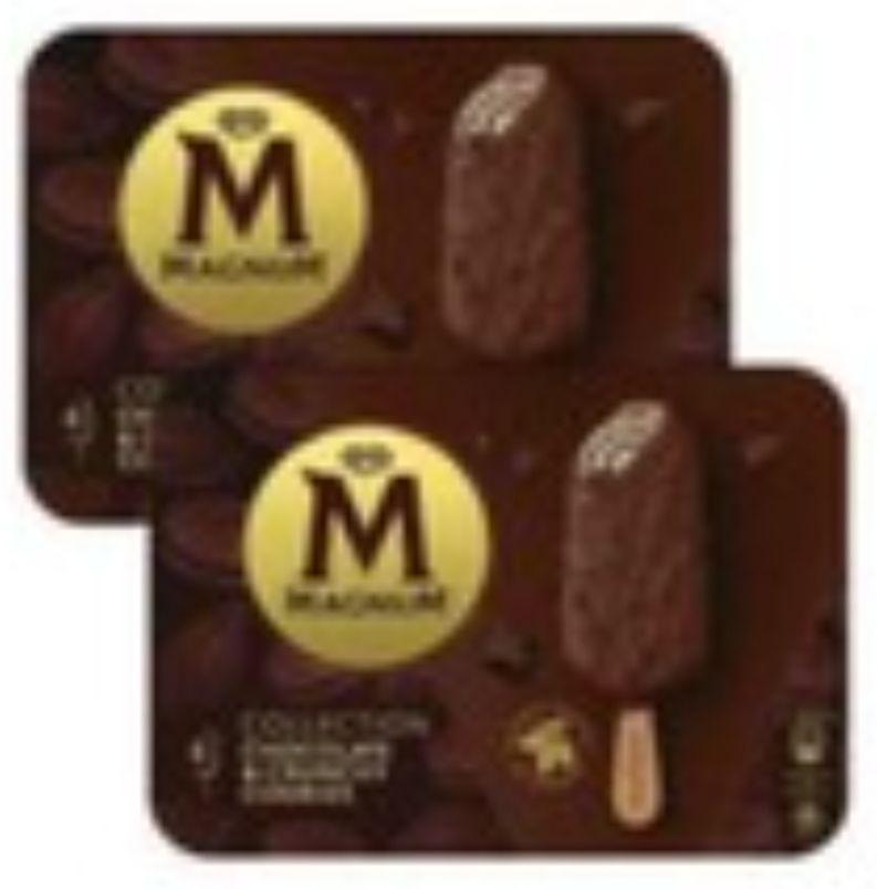 Lot de 2 Boites de 4 Bâtonnets de Glaces Magnum Collection Chocolat & Crunchy Cookies (Via BDR de 1.50€)
