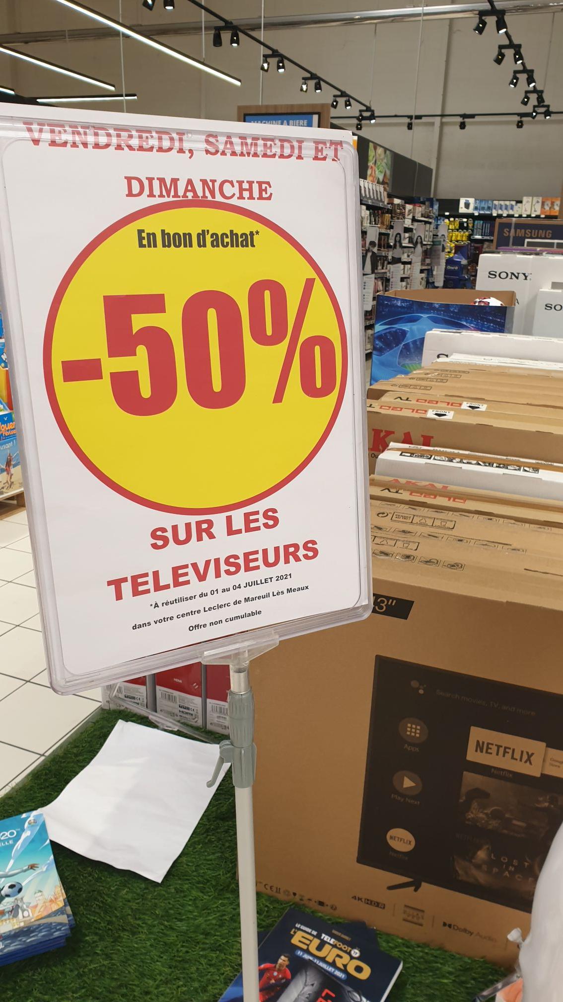 50% offerts en bons d'achat sur les Téléviseurs - Mareuil les meaux (77)