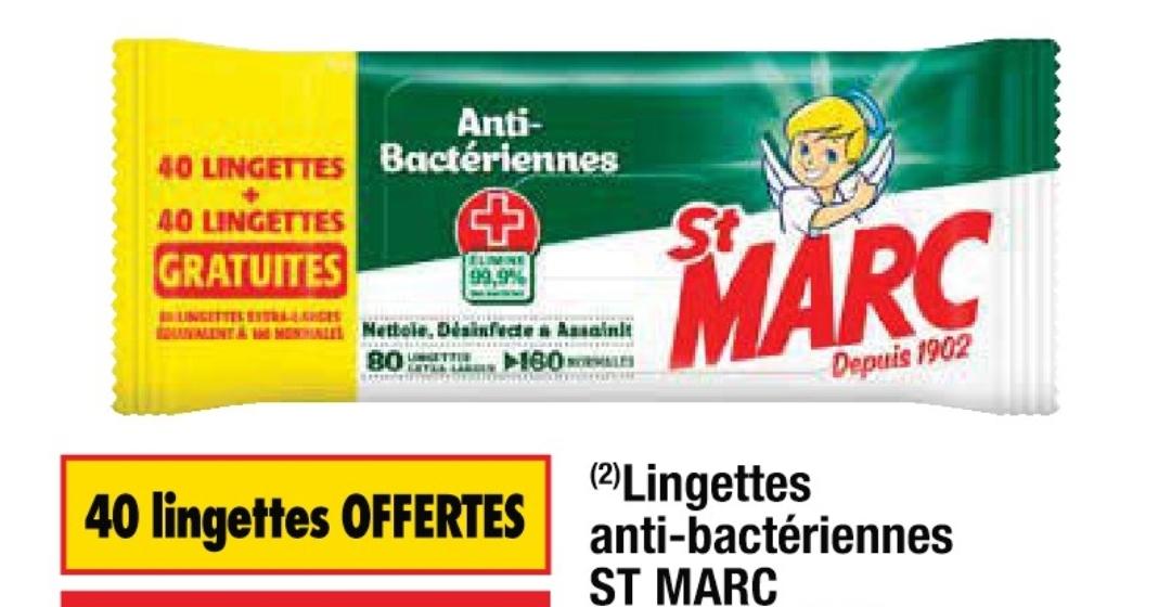 Paquet de 80 lingettes antibactériennes St Marc