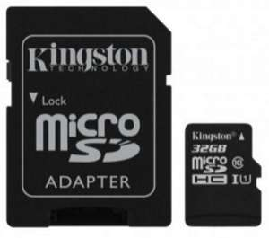 Carte mémoire microSDXC Kingston UHS-I Classe 10 + adaptateur - 32 Go