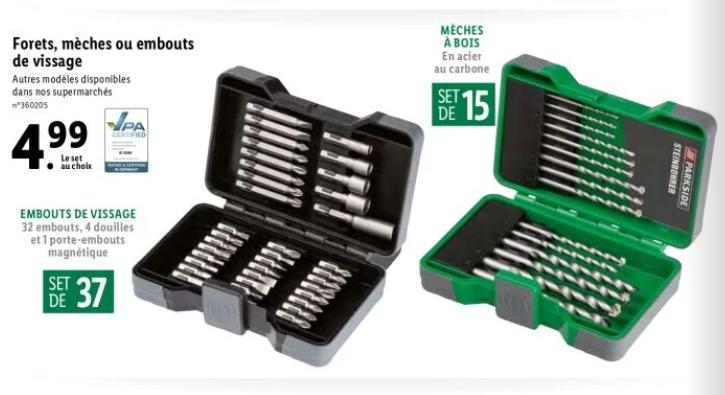 Set d'embouts de vissage (32 embouts, 4 douilles et 1 porte-embouts magnétique) ou de forêts (15 mèches à bois) Parkside
