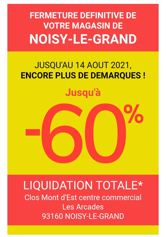 Jusqu'à 60% de réduction sur tout le magasin - Noisy-Le-Grand (93)