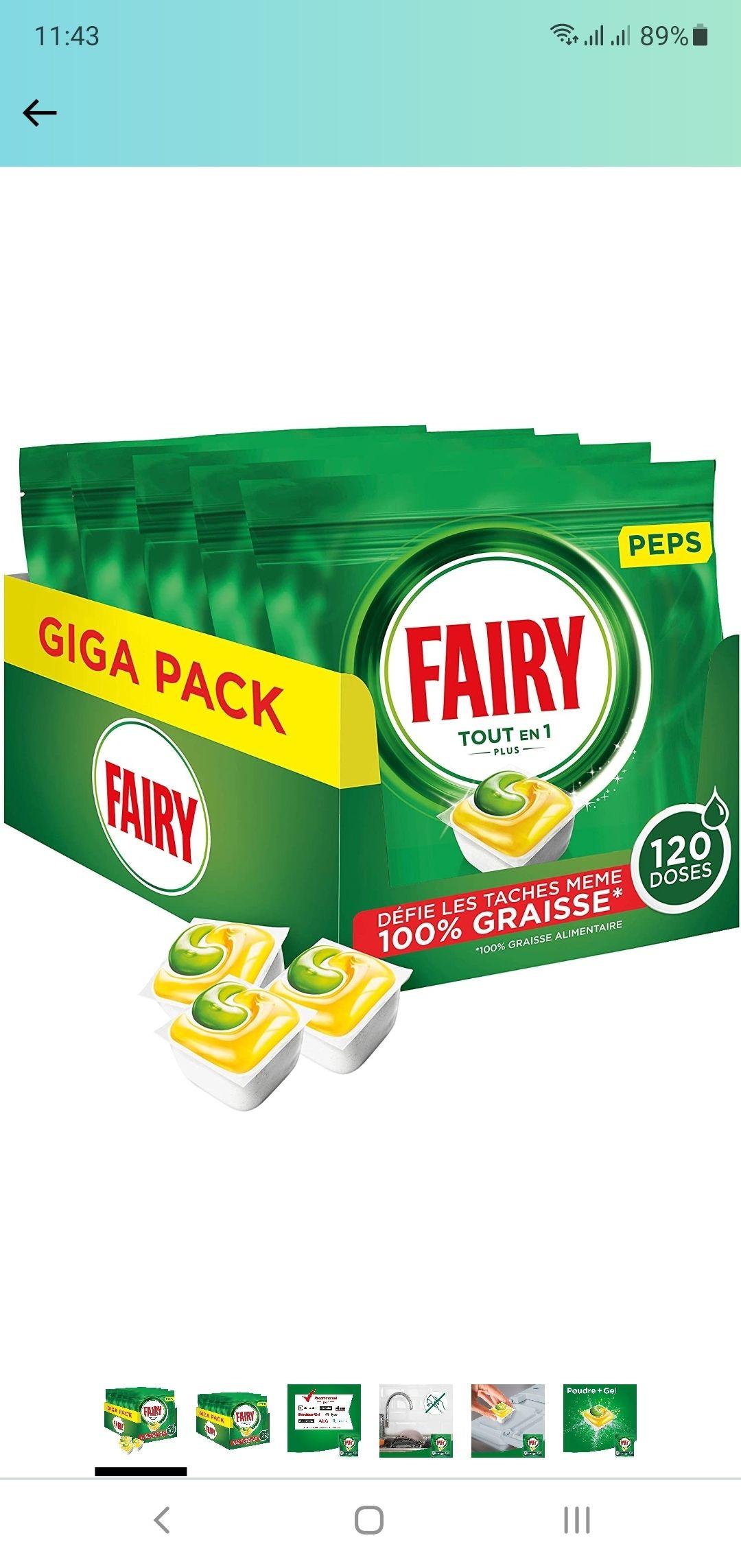 [Prime] Lot de 5 paquets de 24 pastilles pour lave-vaisselle Fairy Peps citron