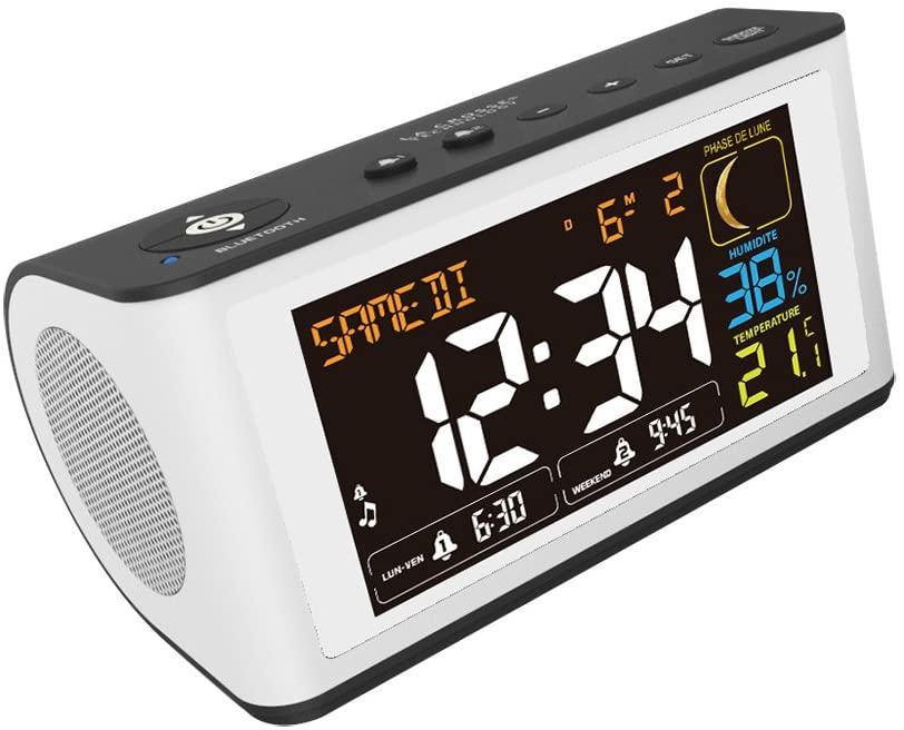 [Prime] Radio Réveil La Crosse Technology WT470 Coloré enceinte bluetooth - Blanc Noir