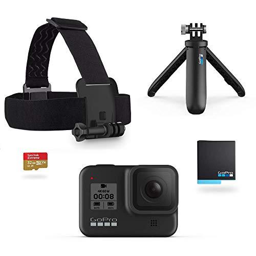 [Prime] Pack caméra sportive GoPro Hero8 Black + 2ème batterie + bandeau + microSDHC 32 Go + trépied