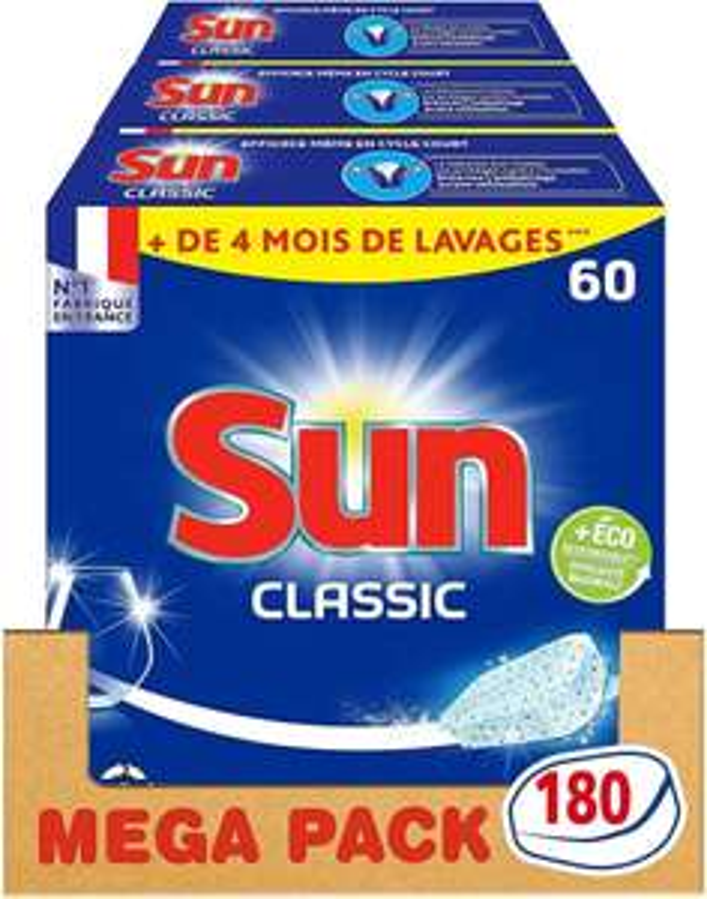 [Prime] Lot de 3 pack de 60 Tablettes Lave-Vaisselle Sun Classique 180 Lavages
